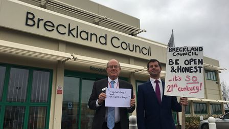 Cllrs Harry Clarke (l) and Pablo Dimoglou (r) have protested about the council's handling of Barnham