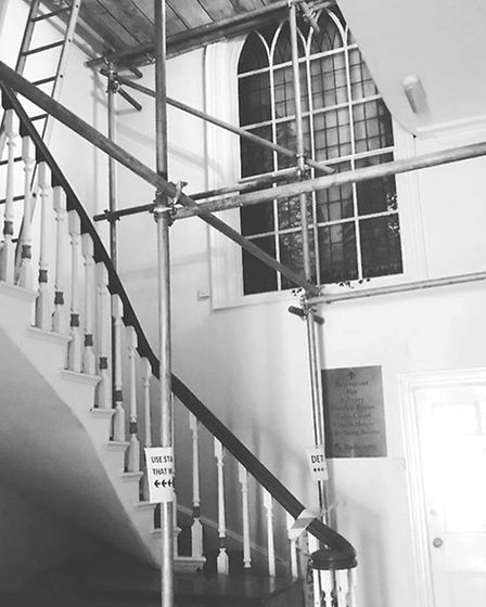 The staircase which is undergoing refurbishment at the Boudicca Hotel. Pic: The Boudicca Hotel.