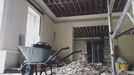 Work going on in the principal reception rooms in the new Boudicca Hotel. Pic: The Boudicca Hotel.