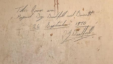 Writing on a wall which was uncovered frm when it was decorated in 1970. Pic: The Boudicca Hotel.