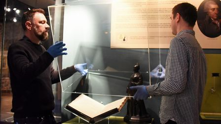 The covers are taken off the cases as artefacts are removed from the Norwich Castle Keep in preparat