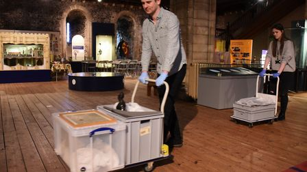 Artefacts being removed from Norwich Castle Keep in preparation for its multi-million pound refurbis
