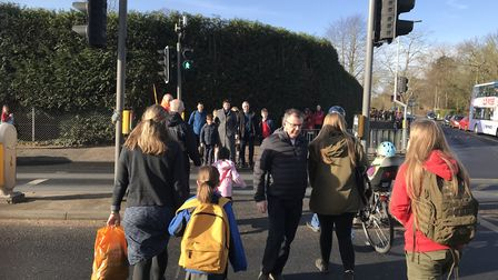 Parents fight council plans to change a pedestrian crossing on Colman Road in Norwich. Photo: Neil D