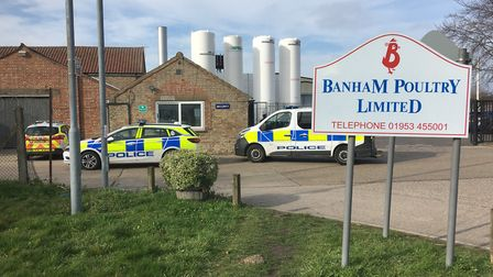 Police at Banham Poultry in Attleborough following a fire. Picture Simon Parkin.
