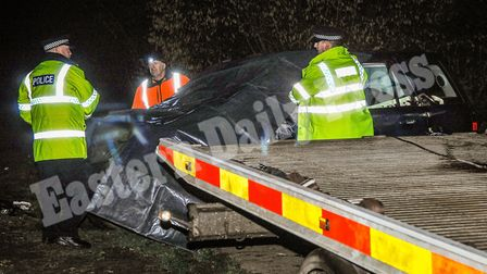 Prince Philip's, the Duke of Edinburgh, car being made ready for recovery after he was involved in a