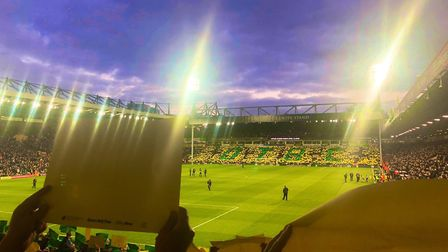 About 7,000 pieces of card were put round Carrow Road. Picture: Mark Robertson