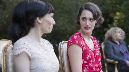 Claire (SIAN CLIFFORD), Fleabag (PHOEBE WALLER-BRIDGE) at Stepmother and Dad's wedding - (C) Two Bro