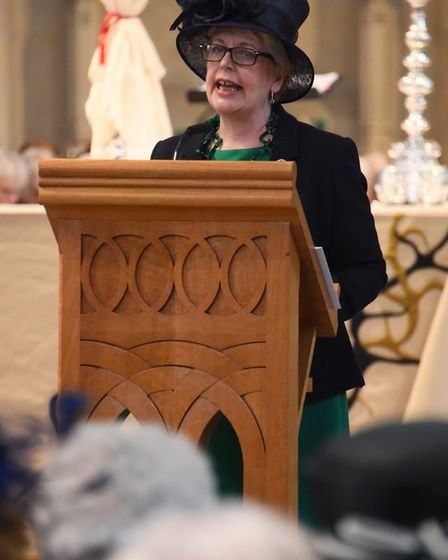 Louise Casson, secretary, reads a poem at the Norfolk Federation of WIs Centenary Celebration at Nor