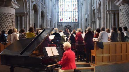 The WI choir during the Norfolk Federation of WIs Centenary Celebration at Norwich Cathedral. Pictur