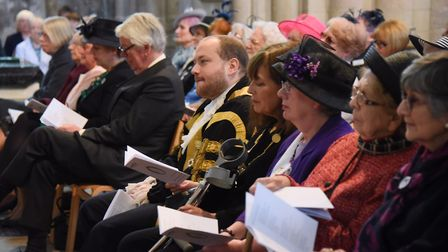 The Lord Mayor of Norwich, Martin Schmierer, centre, at the Norfolk Federation of WIs Centenary Cele