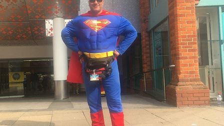 Superman, otherwise known as Saleem Syed, outside Castle Mall in Norwich, where he helped arrest a m
