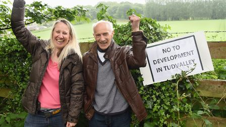 Geoff Hook celebrates refusal of a planning application for the Tud Valley, along with fellow Costes