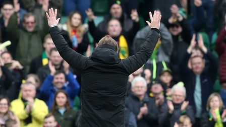 Norwich Head Coach Daniel Farke salutes the River End at the end of the Sky Bet Championship match a