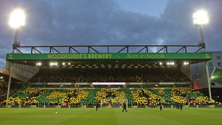 The Barclay End display a mosaic before the Sky Bet Championship match at Carrow Road, NorwichPictur