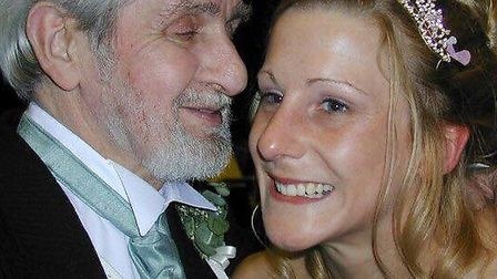 Jaime Larter pictured with her father Peter Leggett, from Beccles. Mr Leggett suffers from dementia