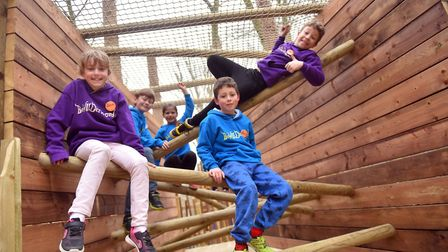 The Junior Boggle Board give a thumbs up to the latest attraction at BeWILDerwood, TheTowering Treet