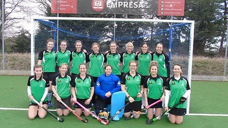 Broadland's title winning side face the camera. Back row (left to right) Nikki Kent, Hattie Hobart,