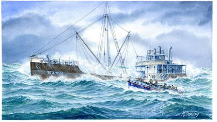 Painting by Mick Bensley showing Henry Blogg and his crew's 1927 rescue of the crew from the Dutch t