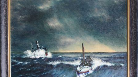 Painting of the Cromer lifeboat's 1927 medal-winning rescue of the SS Georgia. Photo: Submitted