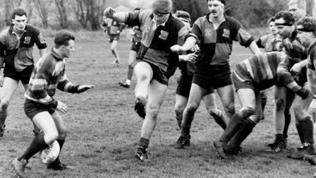 Action from Beccles Rugby Club in the 1980s. Picture: Tim Clements.
