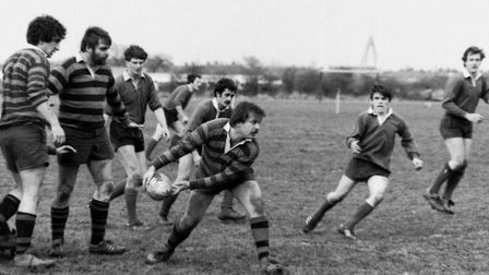 An action shot from Beccles Rugby Club taken in the 80s.