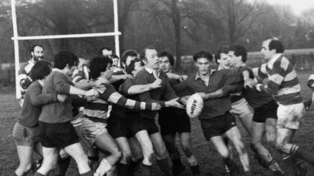 Action from Beccles Rugby Club in the 1980s.
