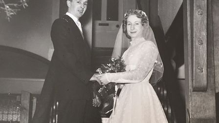 Michael and Irene Oxborough were married at St Michael's Church on March 21, 1959. Here they are pic