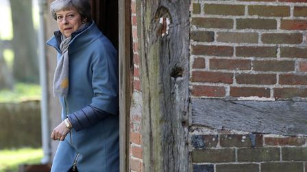 Prime Minister Theresa May leaves after attending a church service near her Maidenhead constituency.