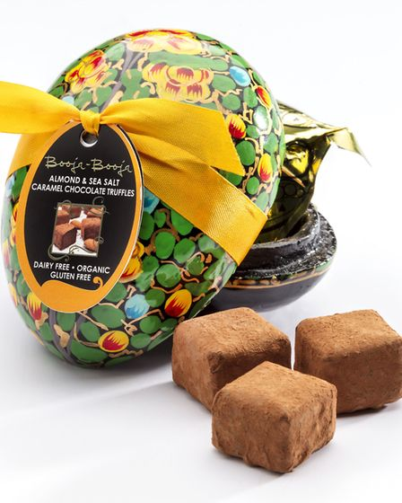 Booja Booja small hand painted egg with vegan salted almond caramel truffles Picture: Booja Booja
