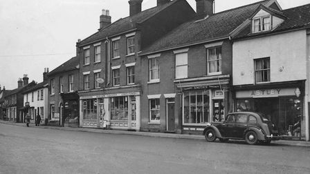 Attleborough shops which include Smiths, stationers and tobacconists, Astley, and Miriam Cooper, pro