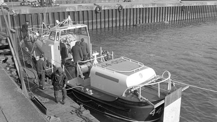 Lifeboat self-righting trials at Lowestoft harbour pic taken 17th feb 1967 m4675-39a pic to be used