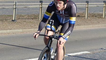 Winner George Fox approaches the Walton Highway roundabout at the Wisbech Wheelers 15 Picture: Fergu