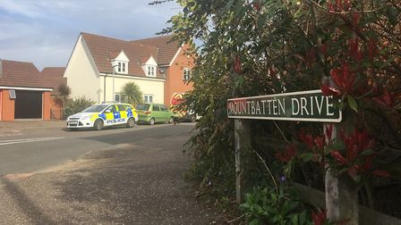 Police at the scene of a stabbing on Mountbatten Drive in Old Catton. Picture Peter Walsh.