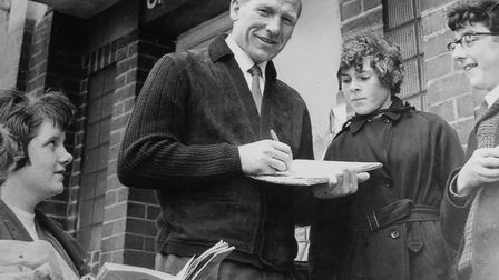Legendary Man City goalkeeper Bert Trautmann signs autographs. His story is told in new film The Kee