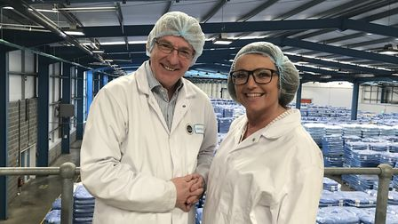 Gordon Chetwood and EDP business writer Caroline Culot in the necessary hairnets and smart overalls