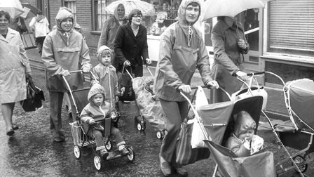 Rain did not not stop these mothers and their children from marching through Beccles in their campai