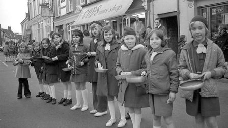 Beccles Pancake Race, 3 March 1976. Photo: Archant Library