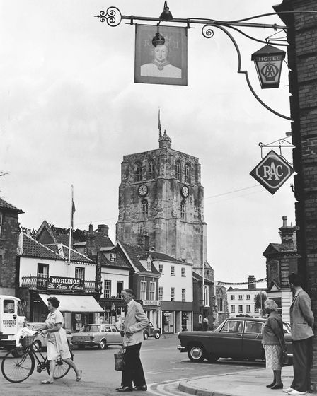 Beccles town centre with the church tower in the background, 5 August 1969. Photo: Archant Library