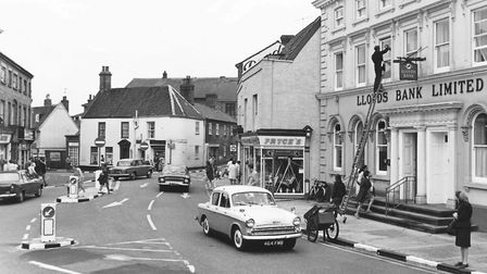 Shops on Exchange Square in Beccles, 5 August 1968. Photo: Archant Library