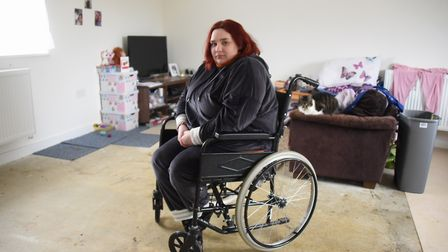 Wheelchair bound Faye Eastwood in her social housing home at Little Melton which she says is inadequ
