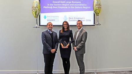 Concertus won the Best Large Company award in the 2018 Best Employers, Eastern Region. Pic: Concertu