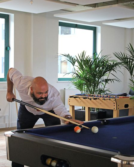 Putting in a pool table for employees to use out of hours has been a great success at Concertus. Pic