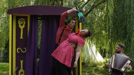 Puck casts a spell on Hermia in The Pantaloons' A Midsummer Night's Dream. Picture: The Pantaloons