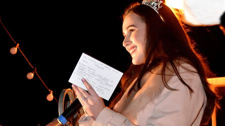 The Southwold Christmas lights switch-on spectacular. Miss Suffolk, Brooke Smith, announces the winn
