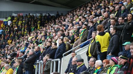 The traveling Norwich fans during the Sky Bet Championship match at the New York Stadium, RotherhamP