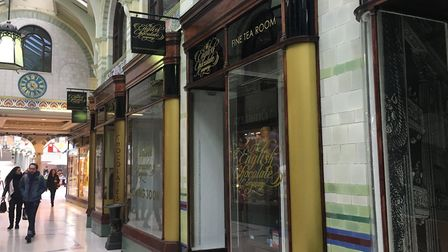 Signage indicates a tearoom will be part of the new English Chocolate Company shop, soon to open in