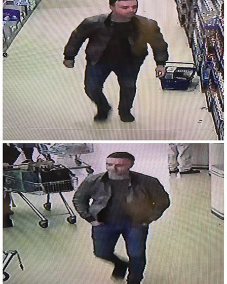 Previously released CCTV images of the man in connection with the purse theft at Aldi in Diss. Pictu