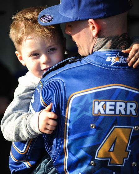 Stars' ace Lewis Kerr in the pits with his son Cooper Picture: Ian Burt