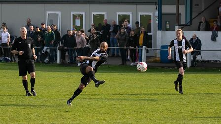 Kelsey Trotter with a fine volley levels the score at Thetford Picture: Paul Leech.