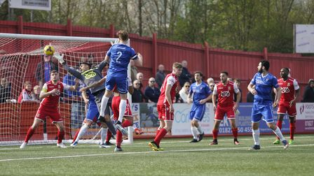 Lowestoft's Josh Curry scoring at Tamworth Picture: Shirley D Whitlow